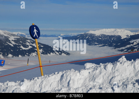 sign at skipiste Ahorn Mountains Zillertal Tyrol Austria - Stock Photo