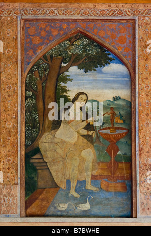 Mural inside Chehel Sotun Palace in Esfahan Iran - Stock Photo