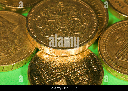 One pound coins - Stock Photo
