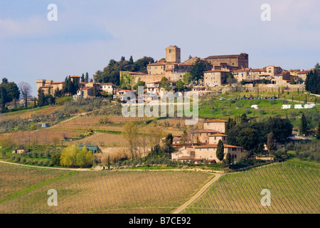 Stone buildings of the town of Panzano atop a hill in the Chianti region of Tuscany Italy - Stock Photo