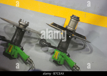 F1 Formula 1 pneumatic wheel release guns - Stock Photo