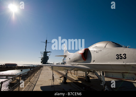 An A-4 Skyhawk sits on the flight deck of the USS Yorktown (CV-10) at Patriots Point Naval and Maritime Museum. - Stock Photo