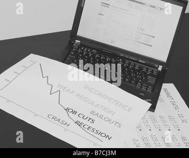 Image reflecting the credit crunch crisis within the bank system the effect on business, stock market and the man - Stock Photo