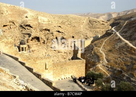 Greek Orthodox Monastery of Mar Saba (St. Sabas) in Judean Desert, Israel - Stock Photo