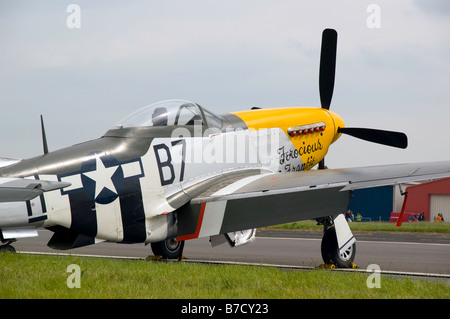 WWII US Fighter Plane P51 Mustang, Biggin Hill, England, 2008 - Stock Photo