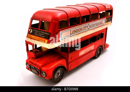 Red Double Decker toy on a white background - Stock Photo
