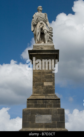 Admiral Lord Collingwood's Monument at the mouth of the river Tyne - Stock Photo