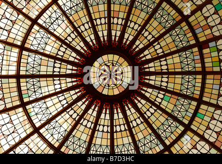 Detail from the domed stained glass ceiling at the Kursaal entertainment building in Southend-on-Sea, Essex. - Stock Photo