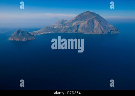 Aerial view, Filicudi island, Aeolian Islands, Sicily, Italy - Stock Photo
