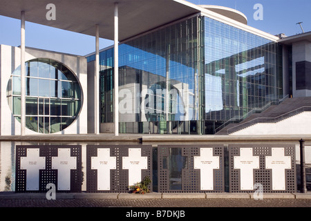 Marie Elisabeth Lüders Haus with white crosses Berlin Germany - Stock Photo