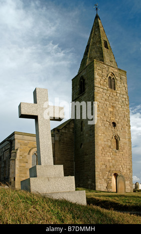 St Bartholomew's Church, In the afternoon sun,Newbiggin by the sea, Northumberland, England, UK - Stock Photo