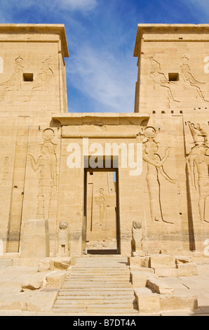 Temple of Isis on Philae which was rebuilt on the island of Agilika after the building of the Aswan dam Aswan Egypt - Stock Photo