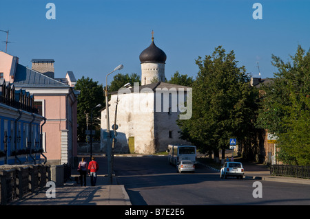 Church of St. Cosmas and St. Damian at the Bridge (1463) in Pskov city (Russia) - Stock Photo