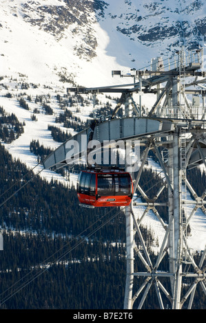 The Whistler Blackcomb Peak2Peak Gondola The gondola runs between Whistler and Blackcomb mountains. - Stock Photo