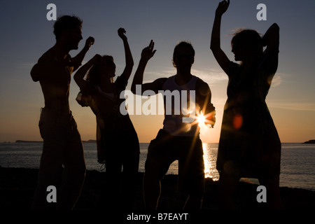 Friends partying on beach - Stock Photo