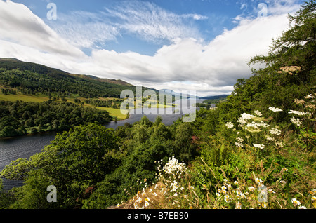 Queens View of Loch Tummel from visitor viewpoint near Pitlochry on Tayside in Scotland - Stock Photo