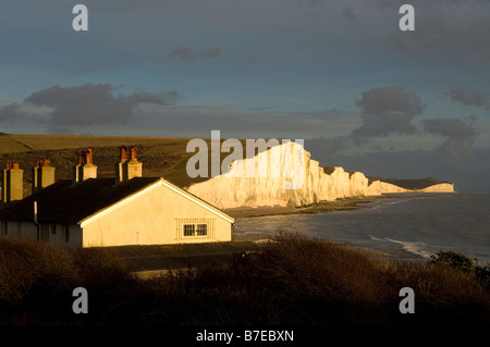 Cuckmere Haven and the Seven Sisters, winter afternoon - Stock Photo
