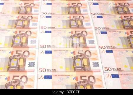 Fifty Euro bank notes. - Stock Photo