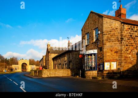 Main Street Follifoot Village near Harrogate North Yorkshire - Stock Photo
