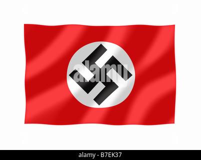 Nazi Flag Waving - Stock Photo