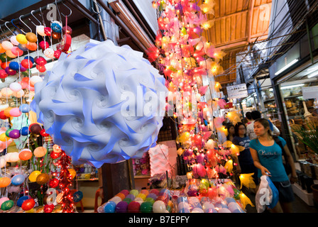 Fairy light stall at Chatuchak Weekend Market in Bangkok Thailand - Stock Photo