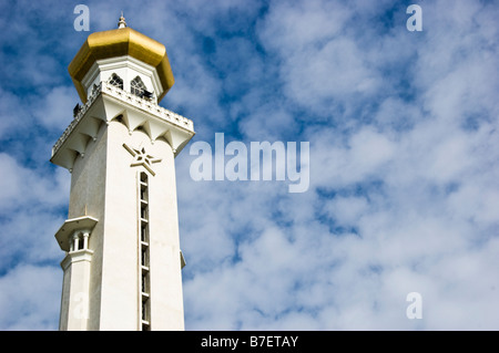 Minaret of Sultan Omar Ali Saifuddin Mosque, Bandar Seri Begawan, Brunei - Stock Photo