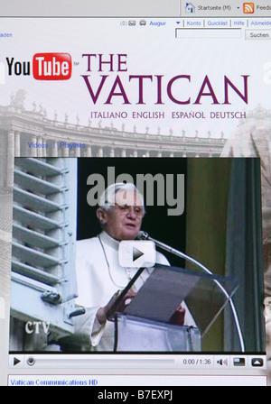 screenshot of the vaticans internet platform at youtube shows Pope Benedikt XVI. - Stock Photo