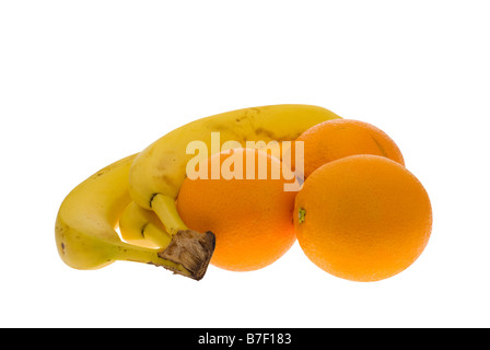 fresh oranges and banana isolated on a white background - Stock Photo