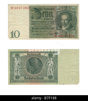 Obverse and reverse of a pre war 1929 German 10 Reichsmark banknote Richard B Levine - Stock Photo