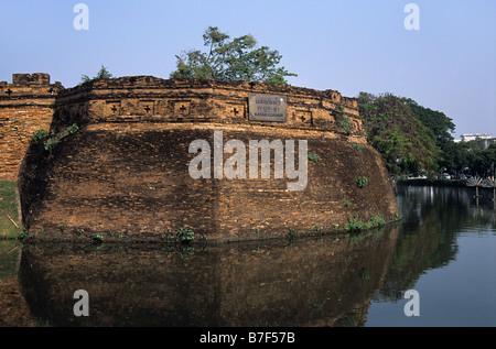 Fish Trap Corner, 'Jaeng Katam', or South-East Bastion of the City Walls, Chiang Mai, Thailand - Stock Photo
