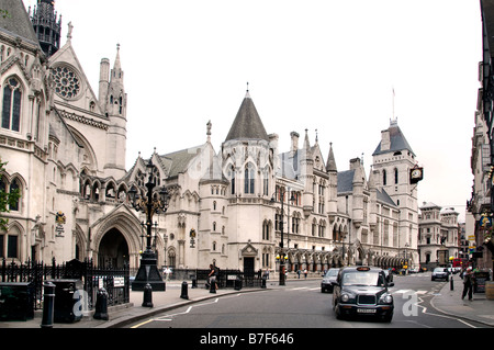 London The Royal Courts of Justice the Law courts  Strand  Fleet Street  Holborn Victorian Gothic - Stock Photo