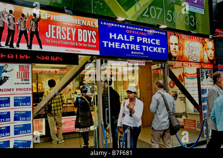 Leicester Square box office discount tickets half price booth Theatre Soho West End show nightlive play - Stock Photo