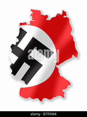 Nazi Flag Third Reich Waving In German Country Shape/Map - Stock Photo