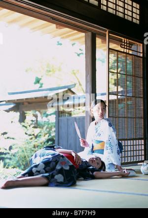 Women wearing Yukata - Stock Photo