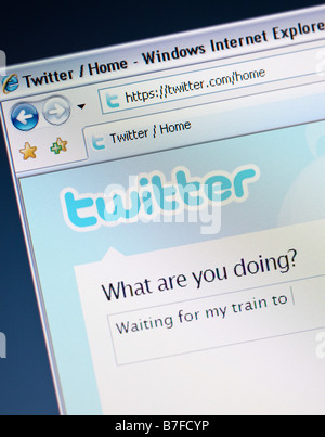 Twitter social networking and micro blogging site - writing a tweet - Stock Photo