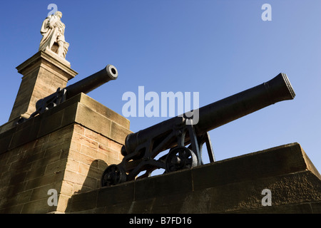 Monument to Admiral Lord Collingwood situated near Tynemouth overlooking the River Tyne, North Tyneside, England - Stock Photo