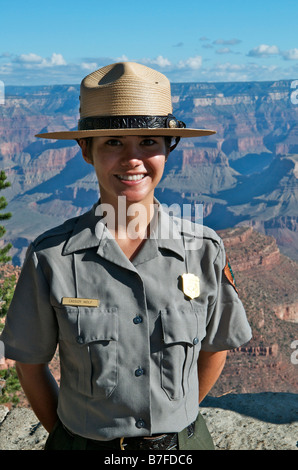 Official National Park Ranger Woman Showing Tourist The