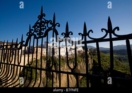 reja and views of Tajo de Ronda Serrania de Ronda Malaga Andalusia Spain - Stock Photo