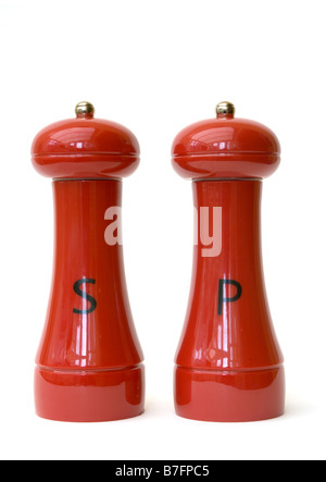 Red Salt and Pepper Pots - Stock Photo