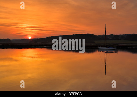 Sunset at Newtown Quay, Isle of Wight - Stock Photo