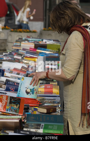 Woman at Ljubljana book market, Slovenia