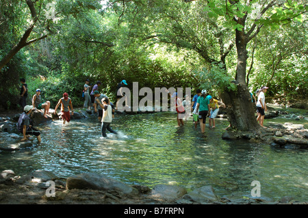 Israel Upper Galilee Tel Dan nature reserve Children wading in the natural pools - Stock Photo