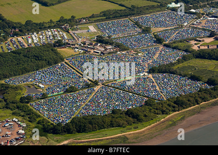 Aerial view of the Isle of Wight festival campsite - Stock Photo
