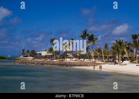 Private beach of Luxery Hotel Four Seasons in Ananhita Mauritius Africa - Stock Photo