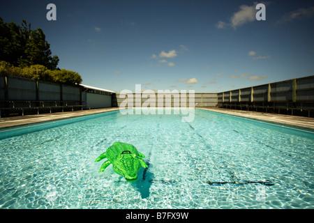Inflatable crocodile at swimming pool - Stock Photo