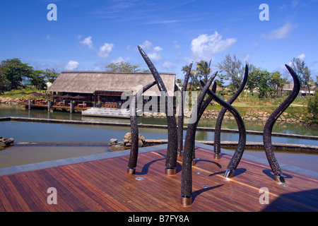 Luxery Hotel Four Seasons in Ananhita Art Object Lagoon Mauritius Africa - Stock Photo