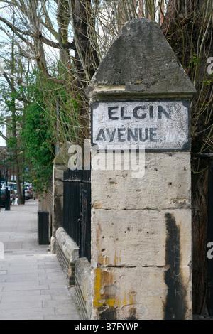 Old fashioned painted Elgin Avenue street sign, Maida Vale, London - Stock Photo