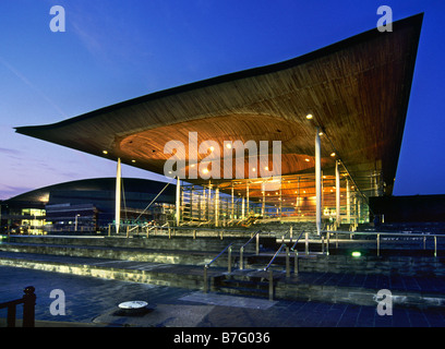 The Welsh Assembly Building Cardiff at dusk - Stock Photo