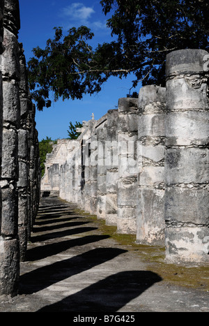 Western Colonnade, Group of the Thousand Columns, Chichen Itza, Mexico - Stock Photo