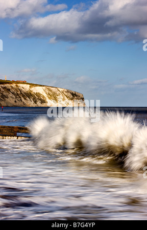 Rough seas at Sandown, Isle of Wight - Stock Photo